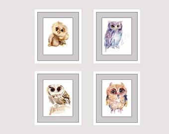 Owls, Bird Paintings - Watercolor  Paintings - Nursery Art Prints