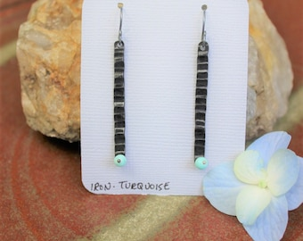 Forged Iron Textured Bar Earrings with Turquoise