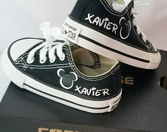 Black Converse,  Mickey Shoes, Infant Toddler, Personalized Name, Party Shoes, Mickey Mouse, Disney Trip, Toddler Sizes