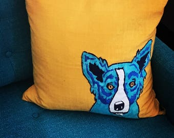 Handmade one of a kind Fine art George Rodrigue Blue dog appliqué designer pillow