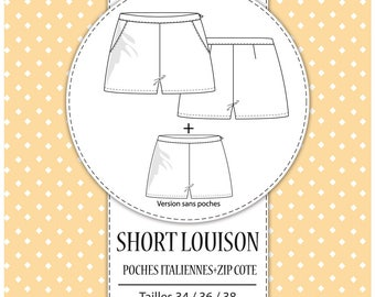 """Pack 3 sizes - T34, T36 and T38 - pattern shorts """"Louison"""""""
