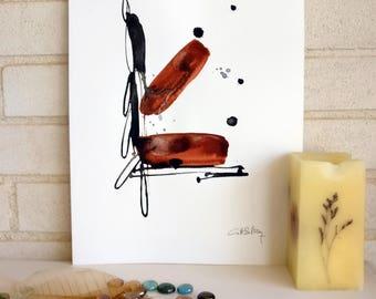 Original painting on paper, minimalist, black and Brown