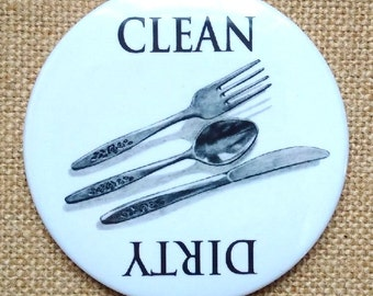 """Dishwasher Art Magnet, Dirty or Clean, Pencil Drawing of Cutlery, 3.5"""" Magnet, Hand Drawn, Original Art, Fork, Knife, Spoon"""