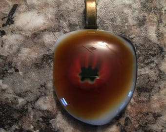 Brown Eyed Fused Glass Pendant