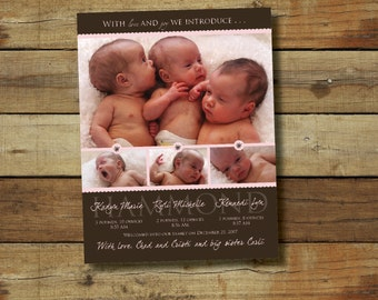 triplets birth announcement photo card for baby girls or baby boys - custom colors