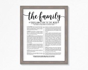 LDS Family Proclamation-Printable-Multiple Size Choices-Black Text-Digital Files-LDS Art-LDS poster printables-Mormon