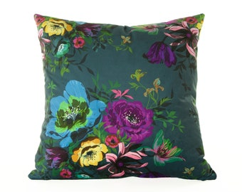Velvet Floral Fiona Cushion Cover, Pillow cover, turquoise