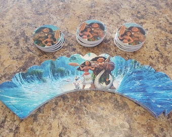 24 piece moana cupcake toppers and wrappers- party decoration- birthday decortion