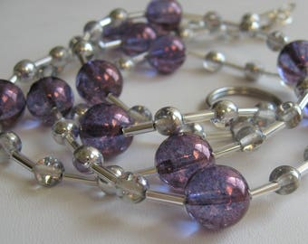 Beautiful Purple and Silver Beaded Lanyard / Badge Holder