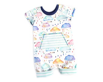 Rain cloud romper, Summer romper, Boys romper, Girls romper, Shorts romper, Rainbow romper, Pocket romper, Summer outfit, Toddler romper