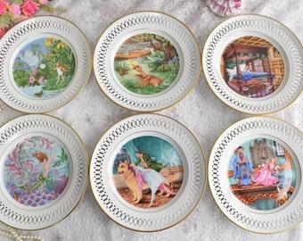 Plate set vintage plate set B&G Denmark dessert plate set perfored porcelain openwork plate set for six hanging plate tale Andersen tale