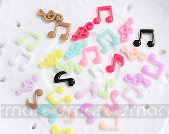 100PCS Mixed Musical Note Cartoon Resin Flatback Cabochon For Craft Decoration