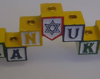 Chanukah Menorah Babyy Blocks by Roman Candles Festival of Lights Original Box