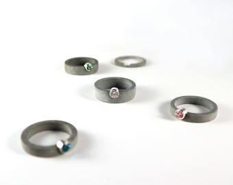 Untitled - Concrete, Sterling Silver & Swarovski Zirconia