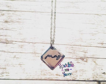 Pray Hand Stamped Necklace, Christmas Gift, Faith, Christian Necklace, GIfts for Her