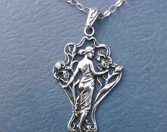Sterling Silver Art Nouveau Pendant Necklace