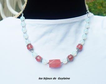cherry quartz and Opal stone necklace
