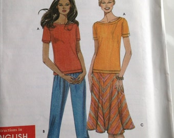 Simplicity Pattern, Pattern 9674, Size A, Women's Top, Pants, Skirt, xs, s, m, l, xl, Misse's Outfit, 2001 Outfit
