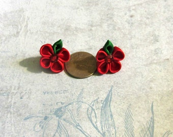 Red and Green Kanzashi Flower Earrings