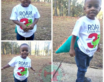 ROAR Look Who's 3 Dinosaur Birthday Shirt-Dinosaur Birthday Shirt-Dino Birthday Shirt-Dinosaur Shirt-Custom Birthday Shirt