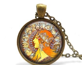 Alphonse Mucha Pendant / Alphonse Mucha Necklace / Art Nouveau / Art Nouveau Jewellry / Alphonse Mucha