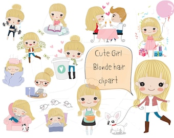 Blonde hair girl clipart ,girl stickers set 2 clipart instant download PNG file - 300 dpi