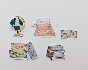 Wanderlust, typewriter, globe, books, and suitcases bullet journal planner matte stickers