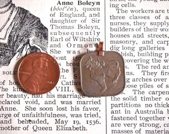 10 Pcs Vintage Burmese Square Pya Coin Charms or Pendants with Copper Loop