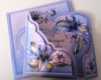Purple lillies handmade sympathy card with matching envelope.