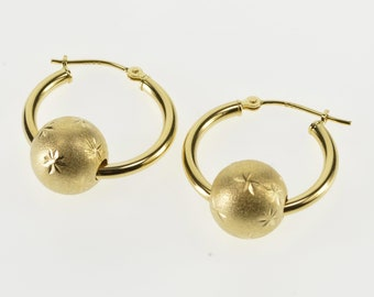 14K Brushed Finish Burst Etched Bead Hoop Earrings Yellow Gold