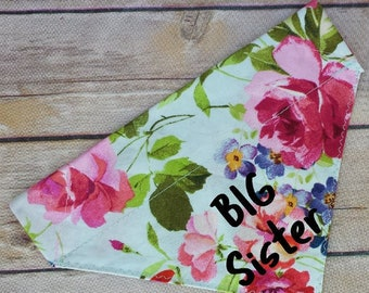 Floral Big Sister Dog Scarf / Big Sister Dog Bandana / Pink Cat Bandana / Birth Announcement / Baby Pregnancy Photo Prop / Over the Collar