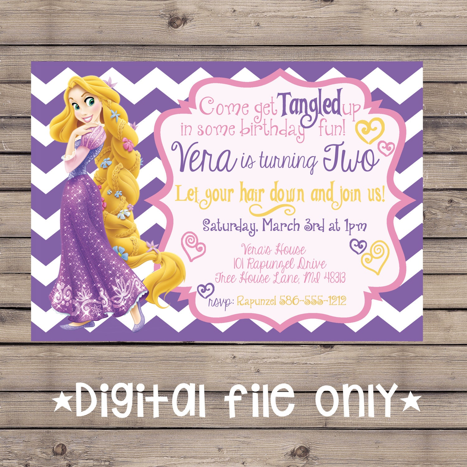 Tangled Birthday Invitation Rapunzel Birthday Invitation Tangled