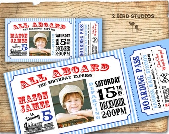 Train invitation - Vintage Train Birthday invite -  Train Ticket Birthday Party Invitation-  DIY printable invitation