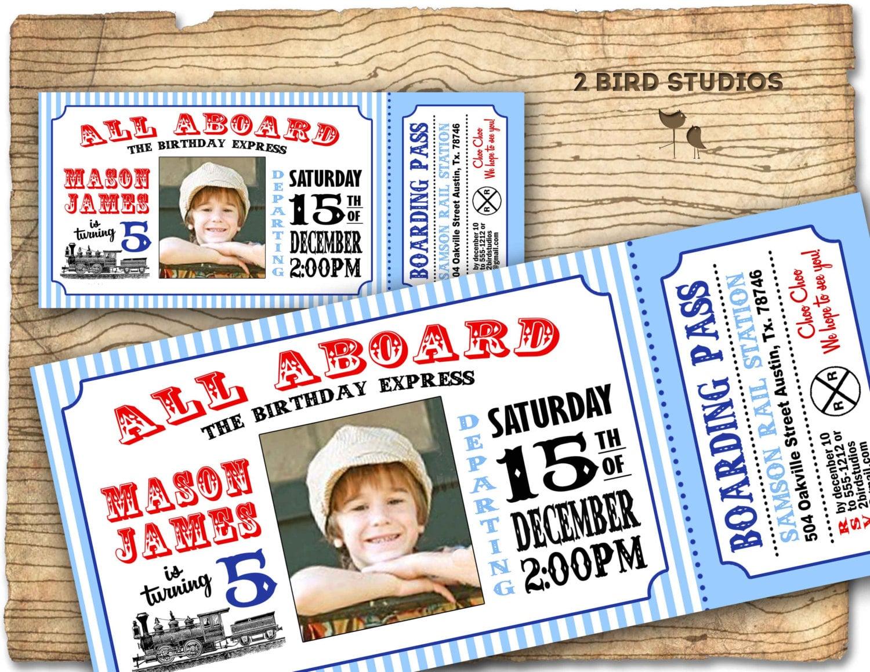 Train invitation Vintage Train Birthday invite Train