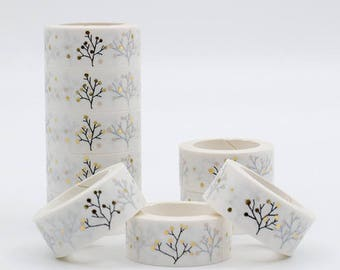 Masking tape white and gold with trees - Washi tape Scandinavian