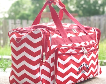 Red & White DUFFLE Bag, Red Chevron Overnight Bag, Personalized Sports Bag, Airline Carry On, Women Duffel, Weekender bag, Girls Duffel Bag