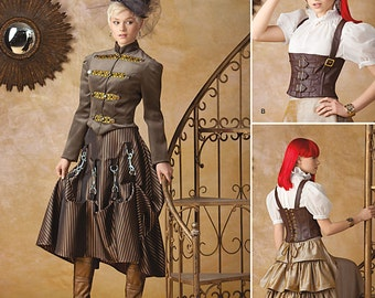 Simplicity Pattern 1558-Steampunk Coat, Corset ,Spats and Skirt Plus Size 14-22