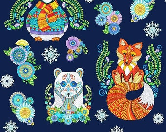 Arctic Wonderland~Colorful Animals 24in x 44in Panel Cotton Fabric By Wilmington Prints