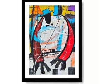 Mr. Piano Man Watercolor Print, Piano Art, Large Abstract Art, Art for Music Studios, Modern Art Print, Framed Artwork, Piano Gifts, Artwork
