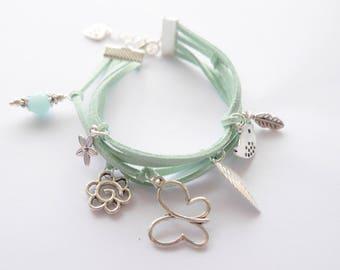 suede color jade 4 strand bracelet