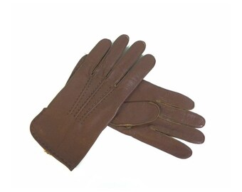 Vintage Brown Leather Womens Driving Gloves