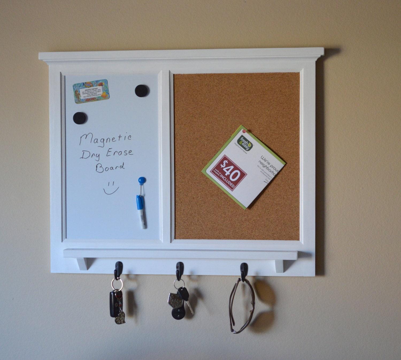 MAGNETIC White Board & Corkboard Organizer Key / Coat / Hat