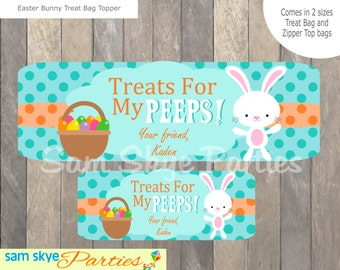 Easter Bunny Treat Personalized Bag Topper DIY Printable, PDF File