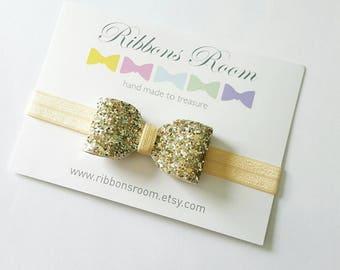 Gold headband, Baby headband, flower girl headband, wedding bow, glitter hair bow, Toddler headband, photography prop, baby Hair bow