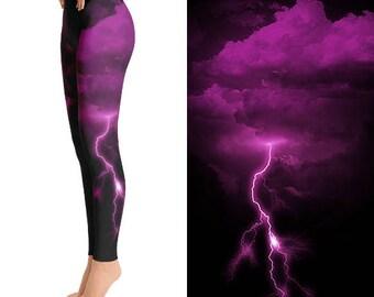 Pink Lightning Leggings, Lightning Bolt Clothing, Thunder Bolt, Thunder Storm, Funky Leggings, Unique Leggings, Designer Leggings