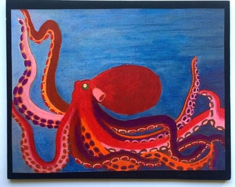 Brightly Colored Octopus Embellished Print of Original Acrylic Painting
