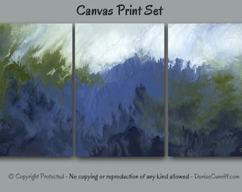 Canvas abstract art prints, Multi panel set of 3, Large wall art, Navy blue olive green sage, Home decor, Bedroom, Office artwork