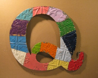 """Tin Ceiling Wrapped 16"""" Letter """"Q"""" Patchwork Reclaimed Metal Mosaic Wall Hanging S1501-13-13"""
