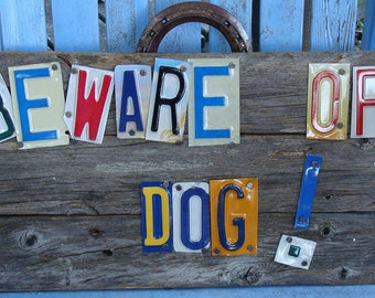 Beware of Dog Sign,License Plate Wood Sign, Security Sign,Beware of Dogs, Warning Sign, License Plates,Dogs,No Trespassing,Wood Signs,Dog