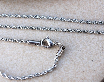 Stainless Steel Chain 2mm/Rope shape steel chain/Jewelry Making DIY Supplies/Gemstoneplace